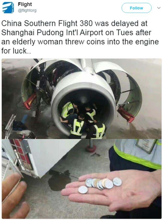 Chinese Woman Threw Coins In A Plane S Engine For Good